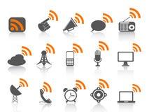 Icono negro de la comunicación con símbolo anaranjado de los rss Imagen de archivo