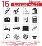 Icono negro de la educación del vector Ilustración del Vector