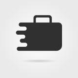 Icono negro de la maleta del viaje con la sombra Foto de archivo libre de regalías
