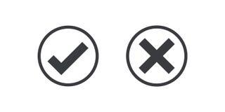 Icono negro de la marca de verificación del icono del círculo aislado en fondo transparente Apruebe y cancele el símbolo para el  ilustración del vector