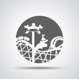Icono negro de la montaña rusa o icono del paseo de la diversión Imagen de archivo libre de regalías