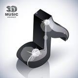 Icono negro de la nota musical de la visión superior Fotos de archivo libres de regalías
