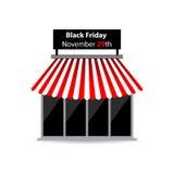 Icono negro de la tienda de viernes Fotos de archivo libres de regalías