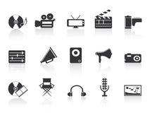 Icono negro de las herramientas de los multimedia Stock de ilustración