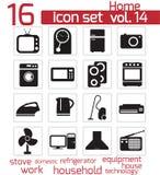 Icono negro de los aparatos electrodomésticos del vector Stock de ilustración