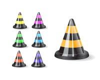 Icono negro de los conos del tráfico Imagenes de archivo