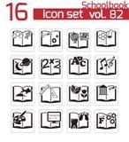 Icono negro de los libros escolares del vector Stock de ilustración