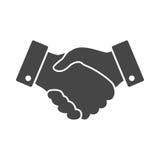 Icono negro del apretón de manos diseño para la estafa del negocio y de las finanzas Fotos de archivo libres de regalías