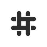 Icono negro del hashtag con los extremos cortados Foto de archivo libre de regalías