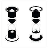 Icono negro del reloj de arena del vector en el fondo blanco Fotos de archivo libres de regalías