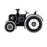 Icono negro del tractor Imagen de archivo