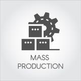 Icono negro en el estilo plano de la rueda y de las cajas de engranaje Producción en masa y concepto moderno del equipo de la maq libre illustration