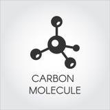 Icono negro en el estilo plano de las moléculas del carbono Compuesto orgánico, elemento químico Logotipo del web Etiqueta del gr stock de ilustración
