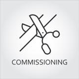 Icono negro simple de las tijeras que cortan la cinta Comisión de concepto ilustración del vector