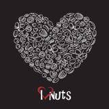 Icono Nuts como corazón Foto de archivo
