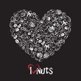 Icono Nuts como corazón Foto de archivo libre de regalías