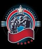 Icono o emblema mezclado de los combatientes del arte marcial Foto de archivo