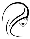 Icono o insignia hermoso del pelo al salón del tatuaje de la belleza Foto de archivo