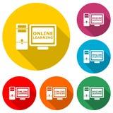 Icono o logotipo de aprendizaje en línea, sistema de color con la sombra larga stock de ilustración