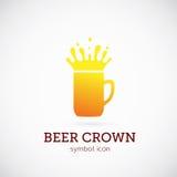 Icono o logotipo del símbolo del concepto del vector de la corona de la cerveza Imagen de archivo libre de regalías