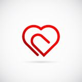 Icono o logotipo del símbolo del vector del concepto del corazón del Paperclip Foto de archivo libre de regalías