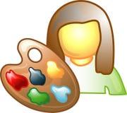 Icono o símbolo de la carrera del artista stock de ilustración