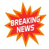 Icono o símbolo de las noticias de última hora aislado en blanco, insignia creativa moderna del título o etiqueta Imagen de archivo