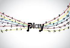 Icono o símbolo de moda del juego de la música con arte del texto del juego que brilla intensamente con tonos y notas coloridos Fotos de archivo libres de regalías