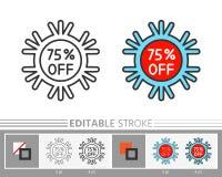 Icono off-line del por ciento del copo de nieve del Año Nuevo de la Navidad Libre Illustration