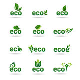 Icono orgánico amistoso Logo Collection verde determinado del web del producto natural de Eco stock de ilustración