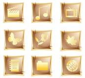 Icono original del oro del vector Fotografía de archivo libre de regalías