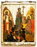 Icono ortodoxo La pendiente adentro al infierno, siglo XIV fotografía de archivo