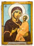 Icono ortodoxo ruso antiguo de la madre de dios de Tikhvin Foto de archivo libre de regalías