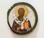 Icono ortodoxo ruso antiguo del Saint Nicolas Foto de archivo libre de regalías