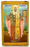 Icono ortodoxo ruso antiguo del St Moses Archbishop de nov Fotografía de archivo