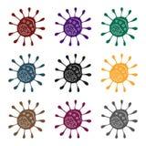 Icono púrpura del virus en estilo negro aislado en el fondo blanco Virus y ejemplo del vector de la acción del símbolo de los bac Imagen de archivo libre de regalías