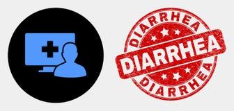 Icono paciente médico en línea del vector y sello rasguñado de la diarrea libre illustration