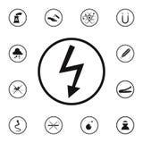 icono peligroso de la electricidad de la muestra Sistema detallado de iconos de las señales de peligro Muestra superior del diseñ stock de ilustración