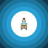 Icono plano accesible aislado Person Vector Element Can Be discapacitado usado para perjudicado, hombre, concepto de diseño disca ilustración del vector