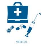 Icono plano azul del vector médico en el fondo blanco stock de ilustración