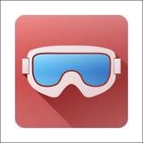 Icono plano con las gafas clásicas del esquí de la snowboard Fotos de archivo