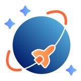 Icono plano de la órbita del transbordador espacial Iconos del color de la nave espacial en estilo plano de moda Diseño del estil ilustración del vector