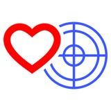 Icono plano de la blanco romántica del corazón stock de ilustración