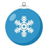 Icono plano de la bola azul de la Navidad en blanco libre illustration