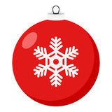 Icono plano de la bola roja de la Navidad en blanco stock de ilustración