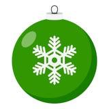 Icono plano de la bola verde de la Navidad en blanco libre illustration