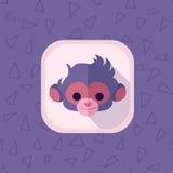 Icono plano de la cabeza linda del mono en colores del rosa en colores pastel Fotografía de archivo