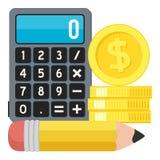 Icono plano de la calculadora, del lápiz y de las monedas en blanco ilustración del vector