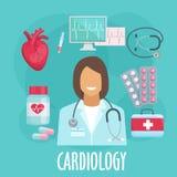 Icono plano de la cardiología con el doctor y las medicinas Foto de archivo