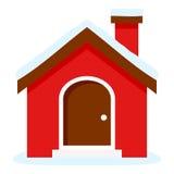 Icono plano de la casa de la Navidad aislado en blanco stock de ilustración